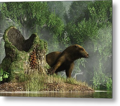 Otter By A Stump Metal Print