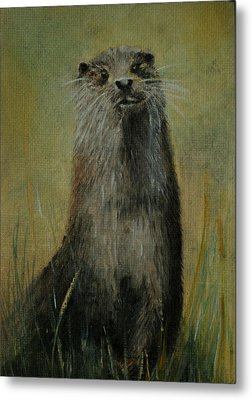 Metal Print featuring the painting Otter  Miniature by Lynn Hughes