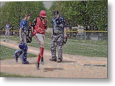Ouch Baseball Foul Ball Digital Art Metal Print by Thomas Woolworth