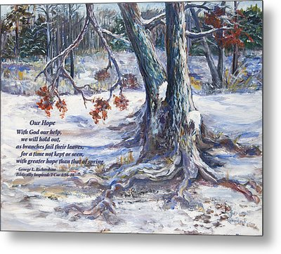 Metal Print featuring the painting Our Hope With Poem by George Richardson
