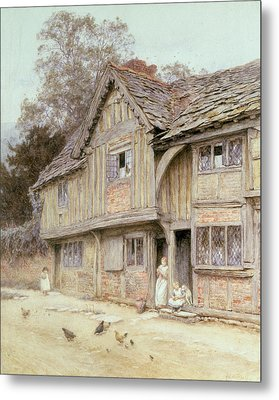 Outside A Timbered Cottage Metal Print by Helen Allingham
