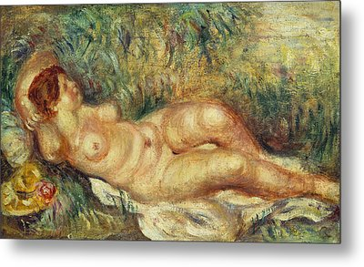 Outstretched Nude Metal Print by Pierre Auguste Renoir