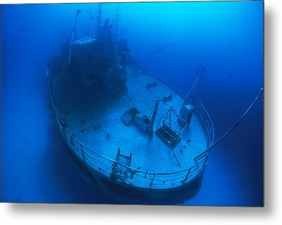Overhead View Of A Shipwreck On The Sea Metal Print by Nick Caloyianis