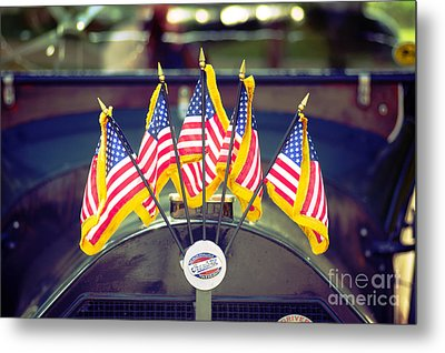 Overland Vintage Car With Flags Metal Print by Floyd Menezes