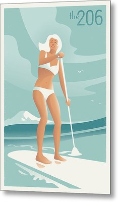 Paddleboarding Seattle Metal Print by Mitch Frey