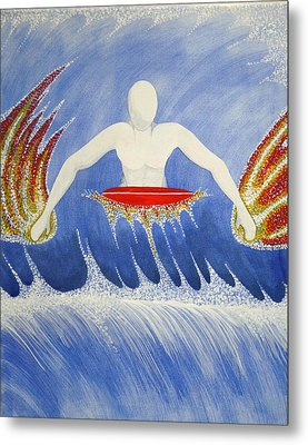 Metal Print featuring the painting Paddling by Paul Amaranto