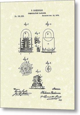 Padlock 1876 Patent Art Metal Print by Prior Art Design