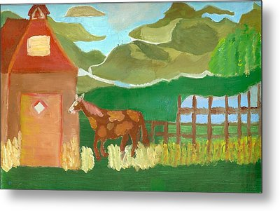 Paint Pony At Red Schoolhouse Metal Print by Shannon SmithCumiford