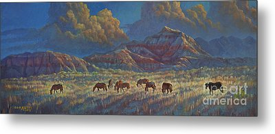 Metal Print featuring the painting Painted Desert Painted Horses by Rob Corsetti