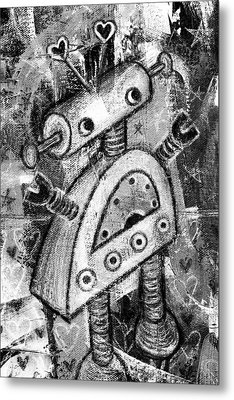 Painted Robot 2 Of 6 Metal Print by Roseanne Jones
