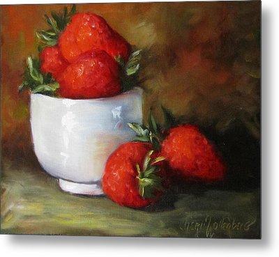 Painting Of Red Strawberries In Rice Bowl Metal Print by Cheri Wollenberg