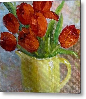 Painting Of Red Tulips Metal Print by Cheri Wollenberg