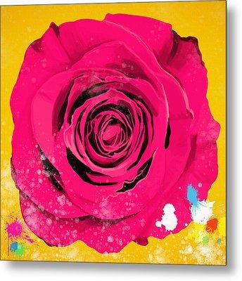 Painting Of Single Rose Metal Print by Setsiri Silapasuwanchai