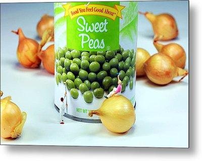 Painting Sweet Peas Poster Metal Print by Paul Ge