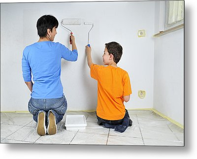 Paintwork - Mother And Son Painting Wall Together Metal Print by Matthias Hauser