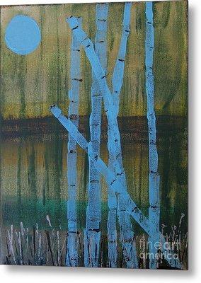Pale Blue Moon Metal Print
