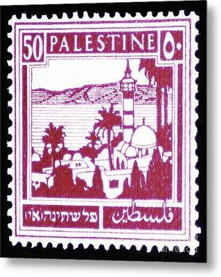 Palestine Vintage Postage Stamp Metal Print by Andy Prendy