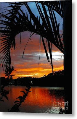 Palm Framed Sunset Metal Print by Kaye Menner