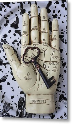 Palm Reading Hand And Key Metal Print