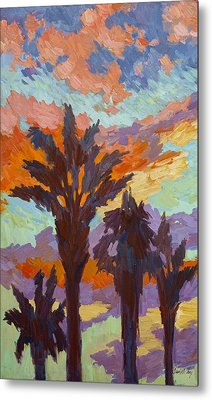Palms And Sunrise Metal Print by Diane McClary