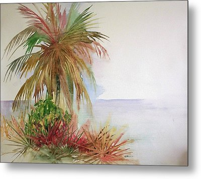 Palms On Beach II Metal Print