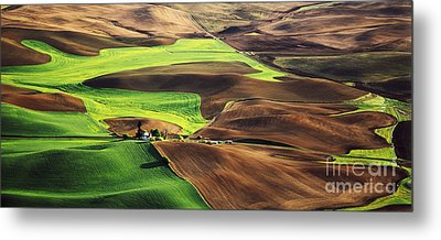 Palouse Farm Country Metal Print by Dennis Flaherty and Photo Researchers