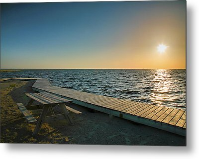 Pamlico Sound And Boardwalk I Metal Print by Steven Ainsworth