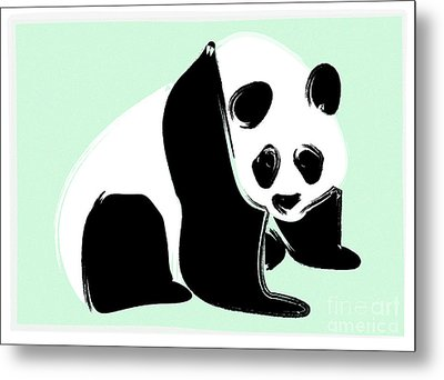 Panda On Green Metal Print by Michelle Bergersen