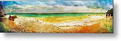 Panoramic Seaside At Tulum Metal Print by Tammy Wetzel
