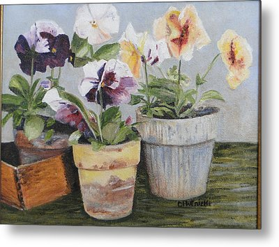 Metal Print featuring the painting Pansies by Cindy Plutnicki