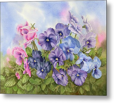 Pansies Metal Print by Leona Jones