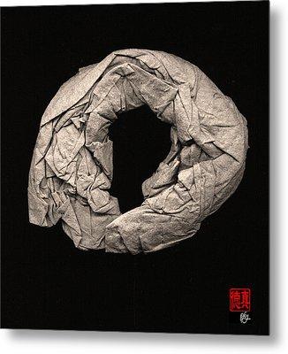 Paper Sculpture Zen Enso 2 Metal Print by Peter Cutler