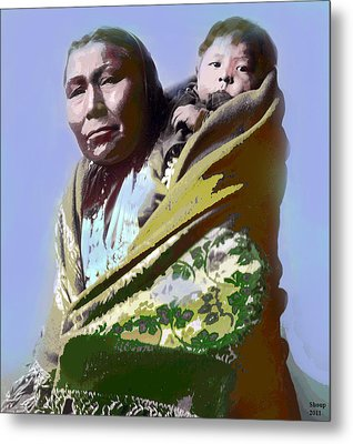 Metal Print featuring the mixed media Papoose by Charles Shoup