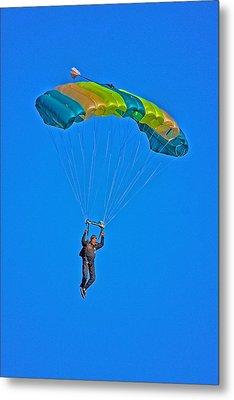 Parachuting Metal Print by Karol Livote