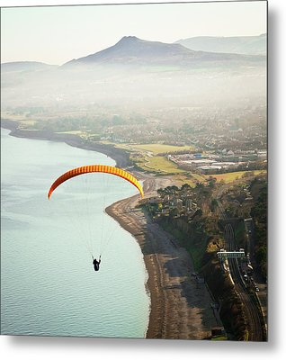 Paragliding Off Killiney Hill Metal Print by David Soanes Photography