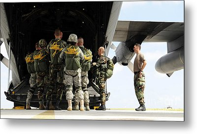 Paratroopers Gather Around The Back Metal Print by Stocktrek Images