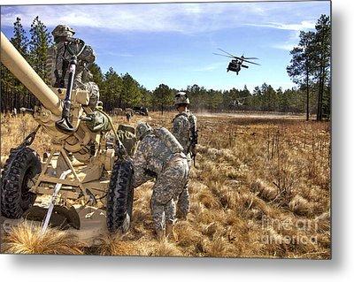 Paratroopers Prepare To Hook Up An Metal Print by Stocktrek Images