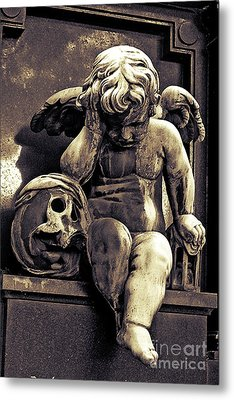 Paris Gothic Angel Cemetery Cherub - Cherub And Skull Pere Lachaise Cemetery Metal Print by Kathy Fornal