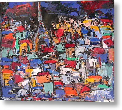 Paris At Night 02 Metal Print by Len Yurovsky