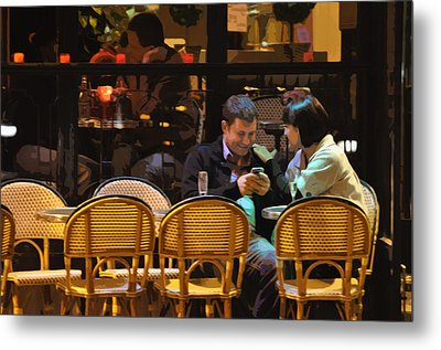 Paris At Night In The Cafe Metal Print by Mary Machare