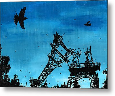 Paris Is Falling Down Metal Print by Jera Sky