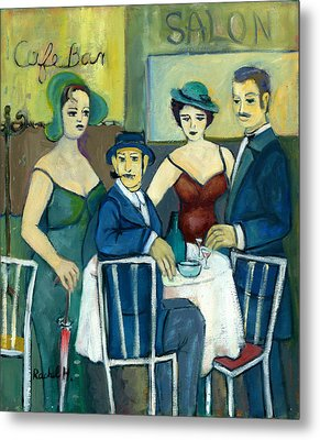 Parisian Cafe Scene In Blue Green And Brown Metal Print