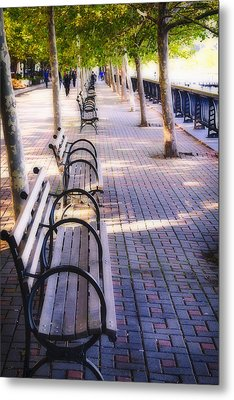 Park Benches In Hoboken Metal Print by George Oze