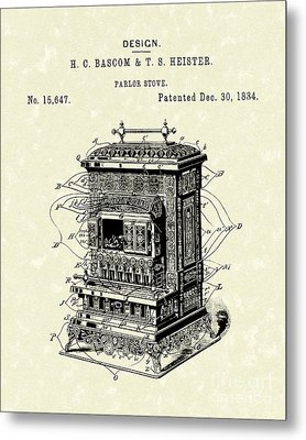 Parlor Stove Bascom And Heister 1884 Patent Art Metal Print by Prior Art Design