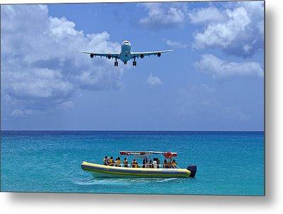 Passenger Airplane Overflies Boat. Metal Print by Fernando Barozza
