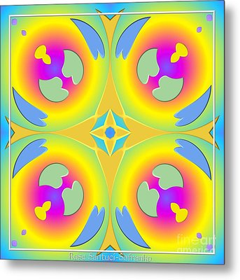Pastel Hearts Warp 2 Metal Print by Rose Santuci-Sofranko