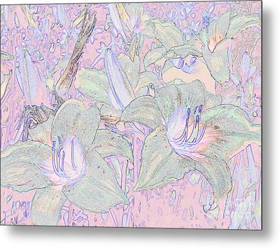 Pastel Lillies Metal Print