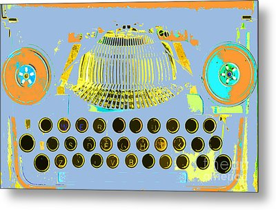 Pastel Pop Typewriter Art Metal Print by ArtyZen Studios