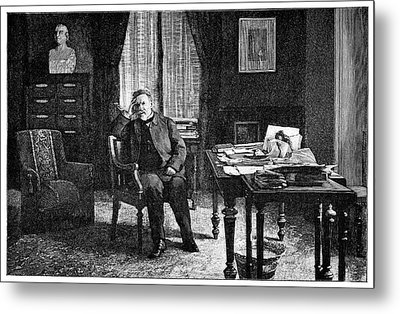 Pasteur In His Study, 19th Century Metal Print by