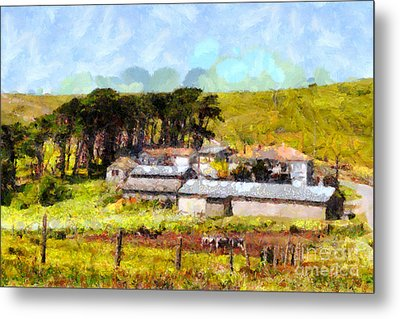 Pastoral Cattle Ranch Landscape  . 7d16047 Metal Print by Wingsdomain Art and Photography